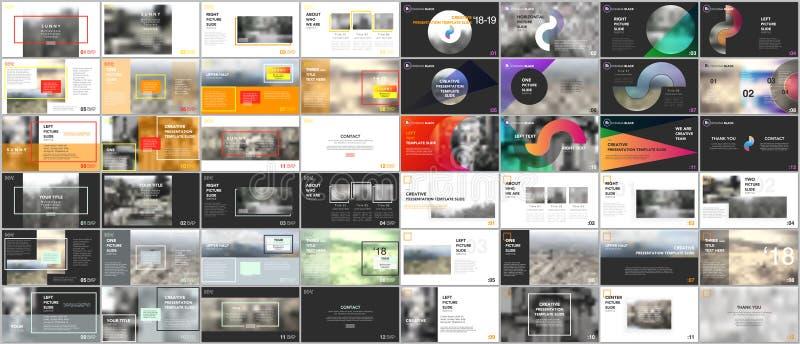 Grote bundel, minimale presentatiemalplaatjes Het vectorontwerp van de brochuredekking Presentatiedia's voor vlieger, brochure, r stock illustratie