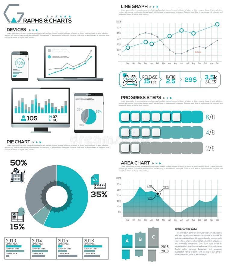 Grote bundel van diagram, grafiek, grafiek en werkschemaelementen stock illustratie