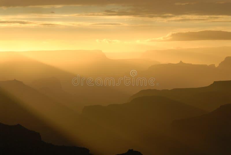 Grote Canion bij zonsondergang royalty-vrije stock foto's