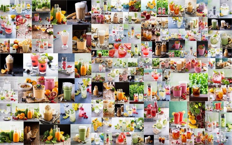 Grote collage met diverse warme en hete dranken stock foto's