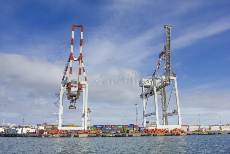 Grote containerkranen bij Swanson-Dok in de Haven van Melbourne, Australië royalty-vrije stock foto's