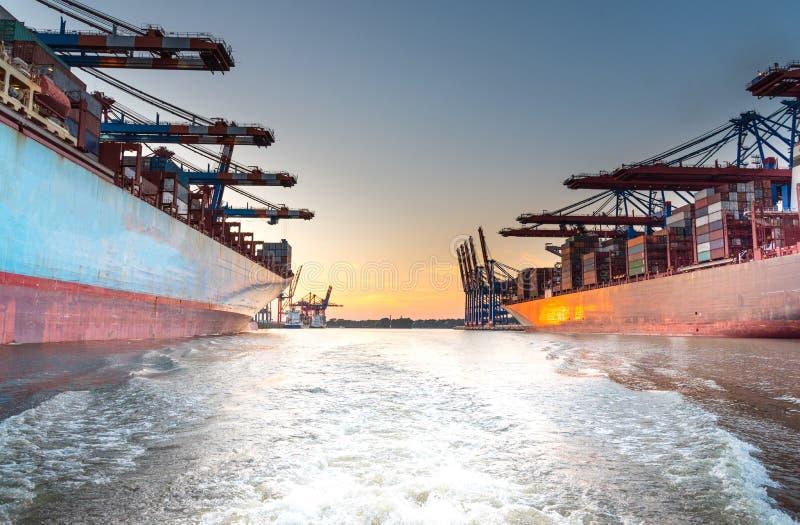 Grote containerschepen in haven bij zonsondergang royalty-vrije stock afbeelding