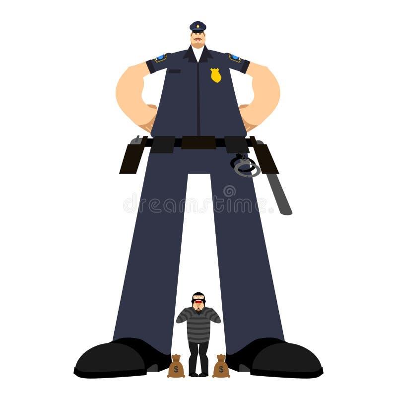 Grote Cop en Roversopsluiting Ernstige Politieagent en inbreker arre stock illustratie
