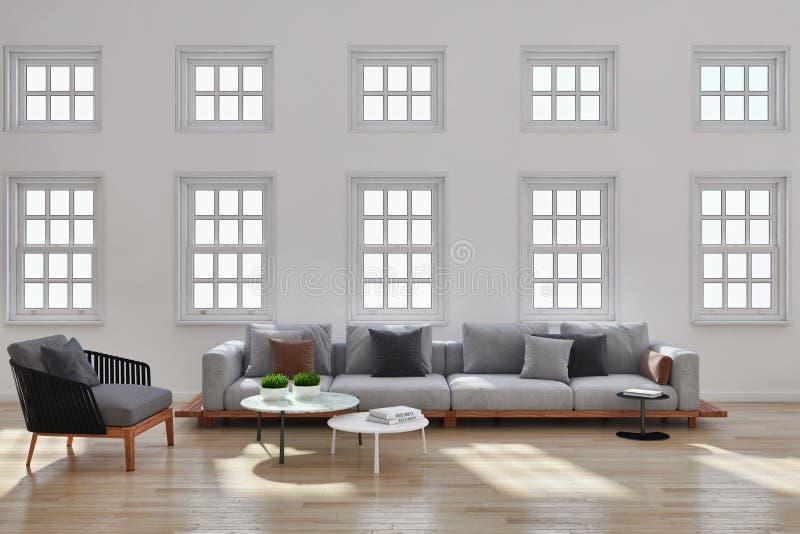 grote 3D de Woonkamerillustratie van het luxe moderne heldere binnenland royalty-vrije stock afbeelding
