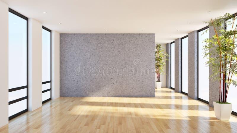 grote de flatwoonkamer van het luxe moderne heldere binnenland 3D aangaande stock illustratie