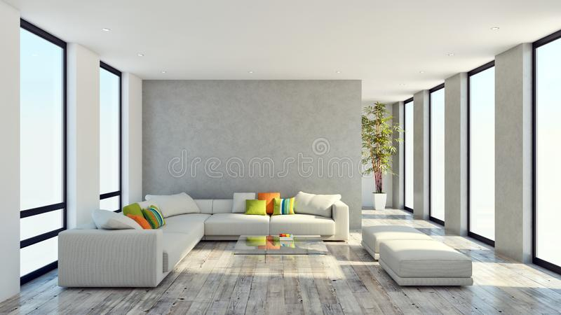grote de flatwoonkamer van het luxe moderne heldere binnenland 3D aangaande royalty-vrije stock fotografie