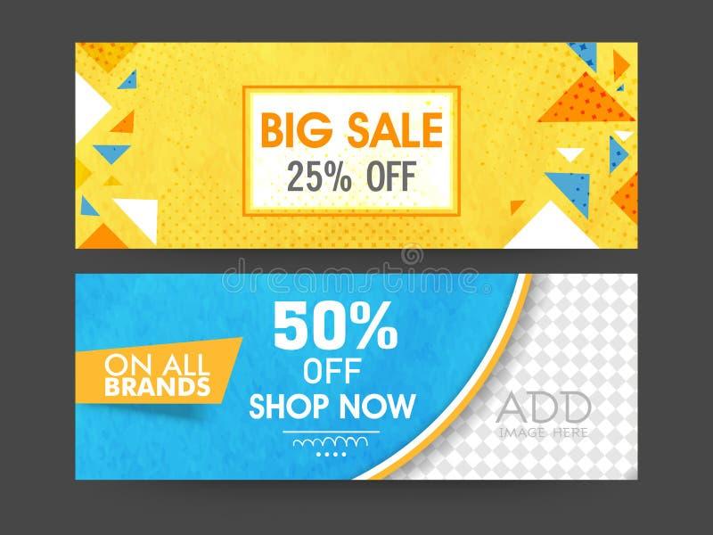 Grote de kopbal of de bannerreeks van het verkoopweb royalty-vrije illustratie