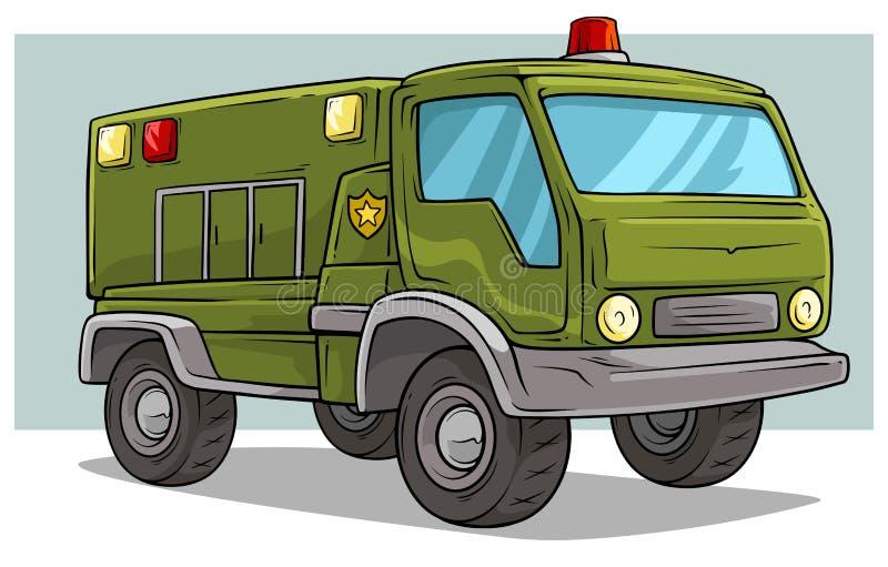 Grote de ladingsvrachtwagen van het beeldverhaal militaire leger vector illustratie