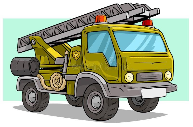 Grote de ladingsvrachtwagen van het beeldverhaal militaire leger met ladder vector illustratie