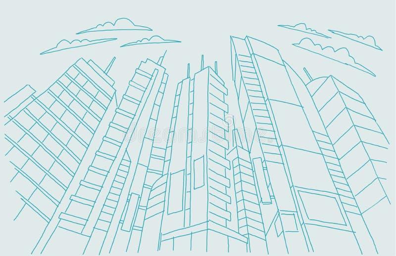 Grote de schetsgebouwen van de stadswolkenkrabber Het blauwe lijnskelet strijkt Modern architectuurlandschap hand getrokken vecto vector illustratie
