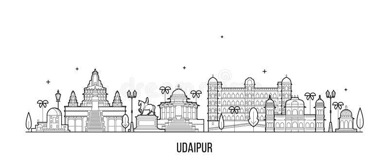 Grote de stadsvector van Rajasthan India van de Udaipurhorizon stock illustratie