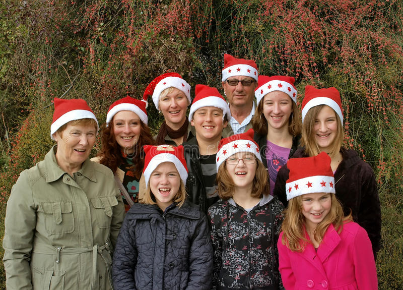 Grote de vakantiefamilie van Kerstmis royalty-vrije stock foto's