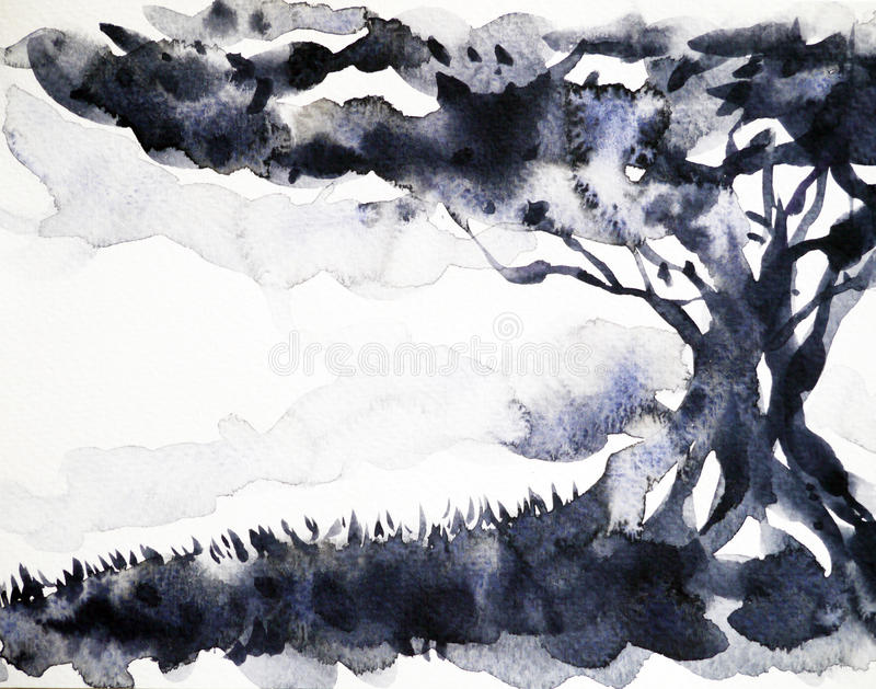 Grote de waterverf van de boom zwarte kleur het schilderen hand getrokken illustratie stock illustratie