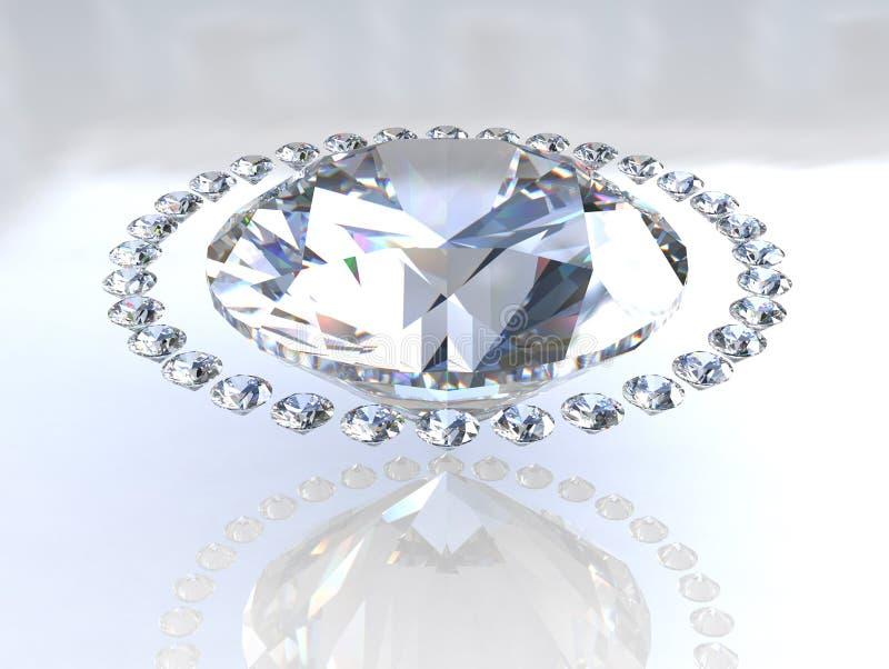 Grote diamant die door kleine metgezellen wordt omringd stock illustratie