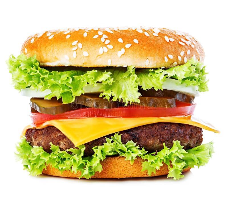 Grote die hamburger, hamburger, cheeseburgerclose-up op een witte achtergrond wordt geïsoleerd royalty-vrije stock afbeelding