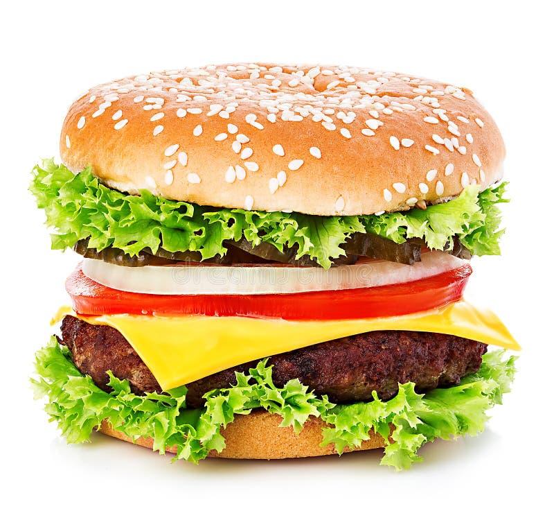 Grote die hamburger, hamburger, cheeseburgerclose-up op een witte achtergrond wordt geïsoleerd stock afbeelding