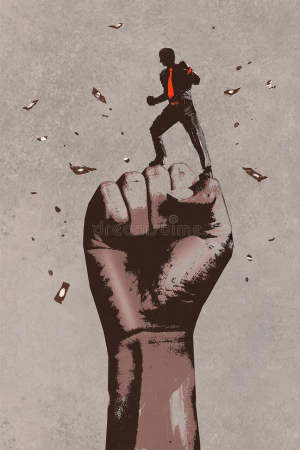 Grote die vuist in de lucht met zakenman wordt opgeheven stock illustratie