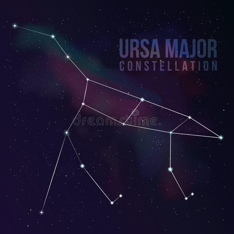 Grote dipper (de grote beer) constellatie vector illustratie