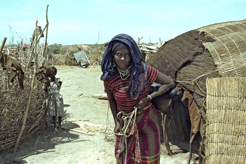 Grote droogte voor Ethiopische Verafgelegen in Danakil-woestijn stock foto