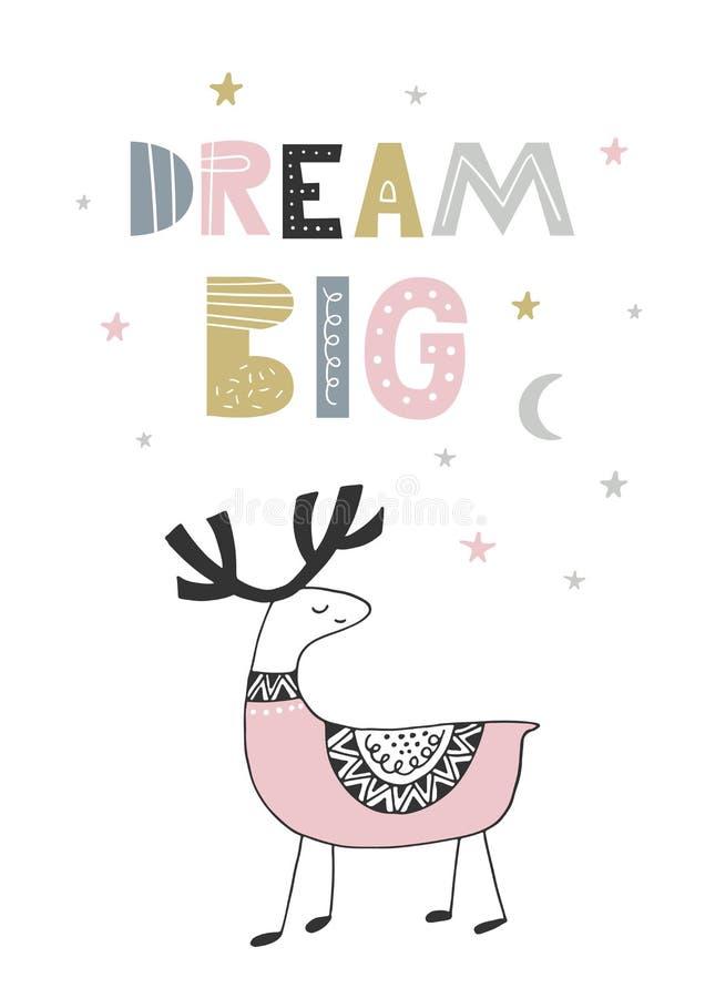 Grote droom - Leuke hand getrokken kinderdagverblijfaffiche met het handdrawn van letters voorzien in Skandinavische stijl Vector vector illustratie