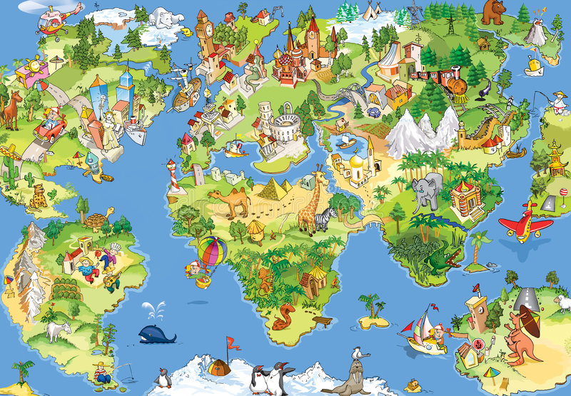 Grote en grappige wereldkaart stock illustratie