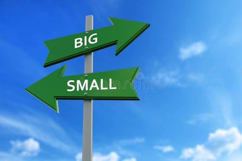 Grote en kleine pijlen tegenover richtingen vector illustratie