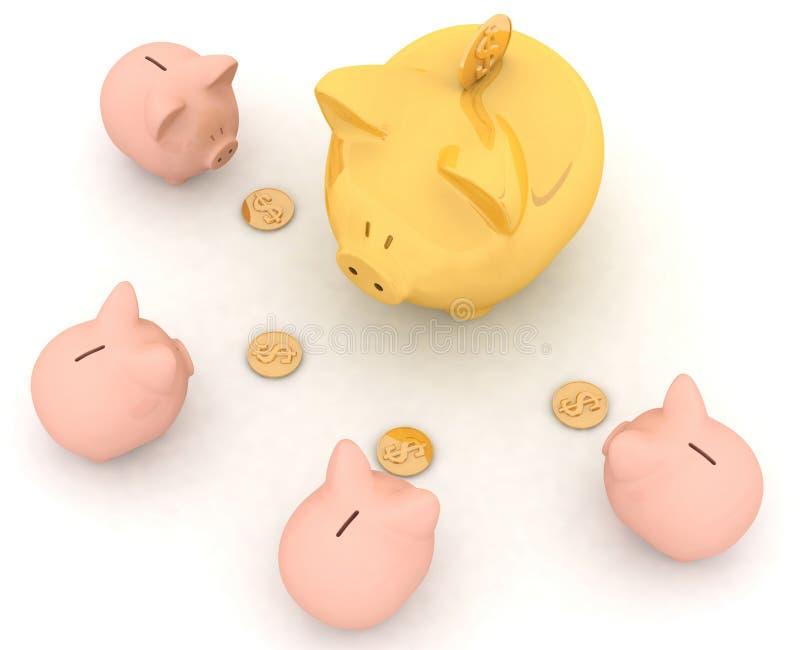 Grote en kleine spaarvarkens royalty-vrije illustratie