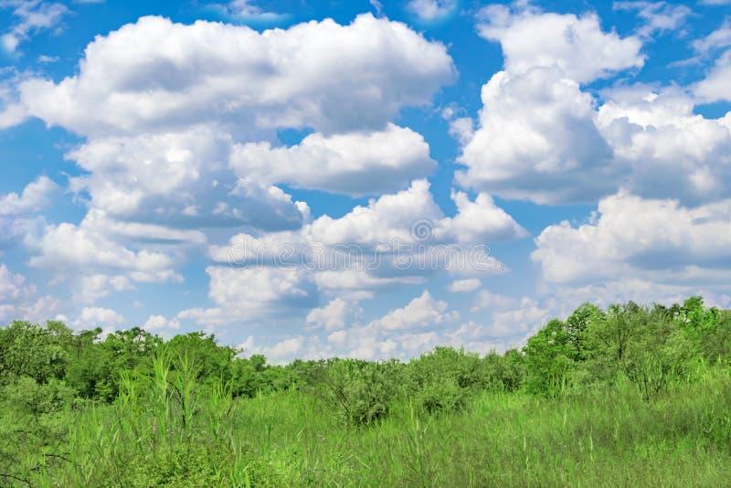 Grote en kleine witte wolken op achtergrond van blauwe zonnige de zomerhemel en groene heuvels met bomen, struiken en gras stock fotografie