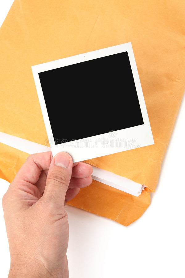 Grote envelop en foto stock foto's