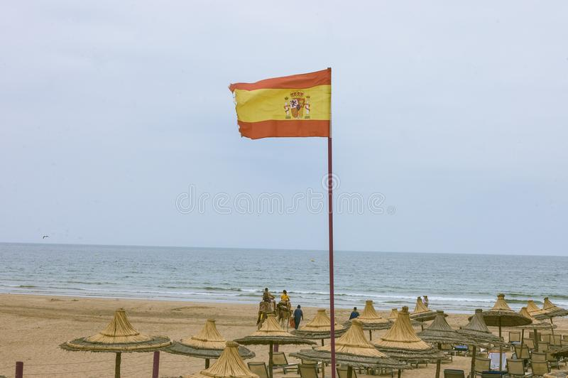 Grote Espana-vlag op het Strand van Marokko Agadir royalty-vrije stock afbeeldingen