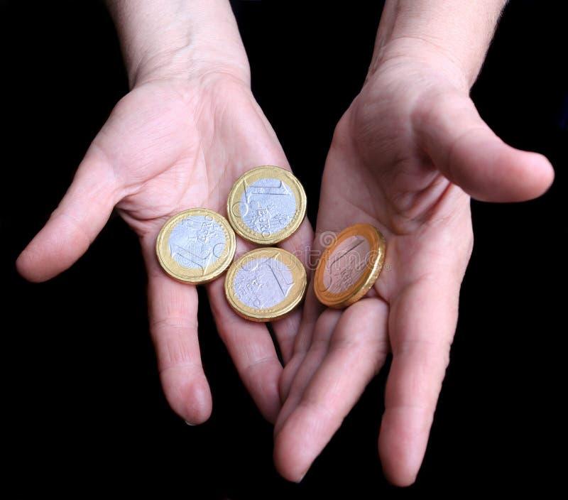 Grote Euro muntstukken royalty-vrije stock afbeeldingen