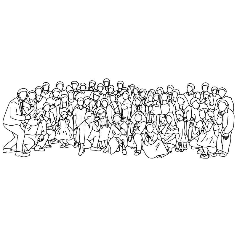 Grote familie die hand nemen van de de schetskrabbel van de foto de samen vectordieillustratie met zwarte geïsoleerde lijnen op w royalty-vrije illustratie