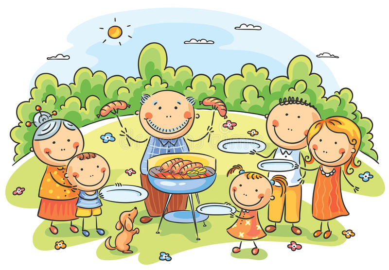 Grote familie die picknick hebben