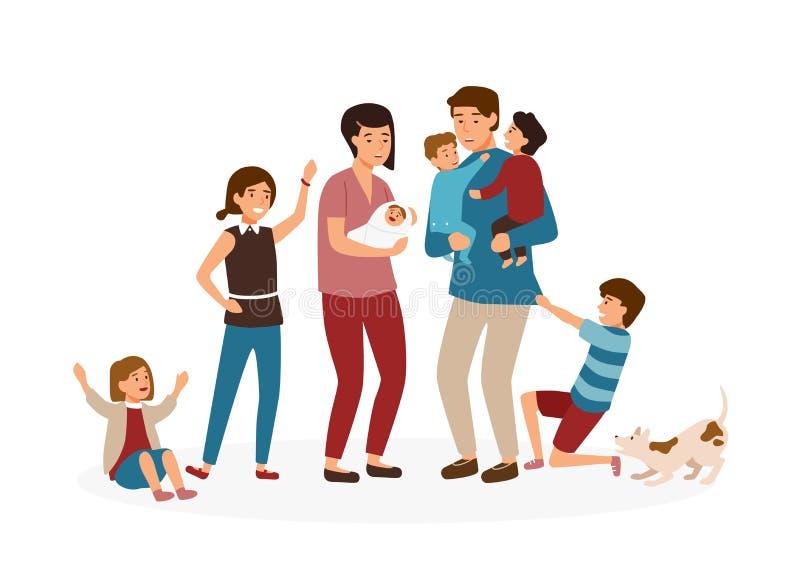 Grote familie met vele kinderen Beklemtoonde en vermoeide ouders of uitgeputte mamma en papa en smerige die jonge geitjes op wit  royalty-vrije illustratie
