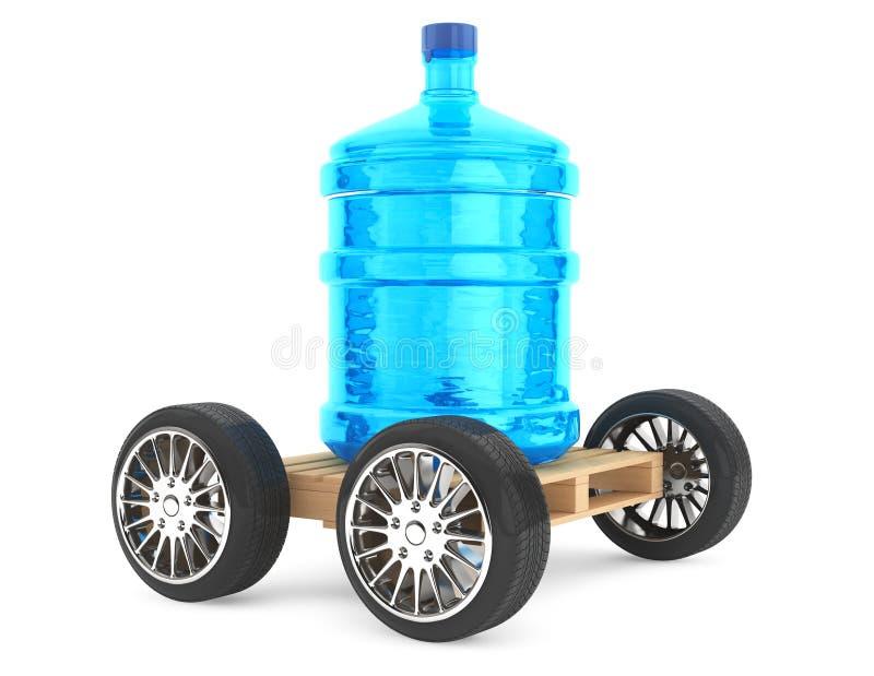 Grote fles het drinken van waterwith wielen stock afbeeldingen