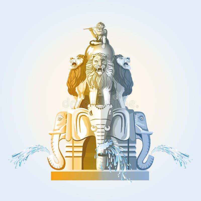 Grote fontein met olifanten en leeuwen royalty-vrije illustratie