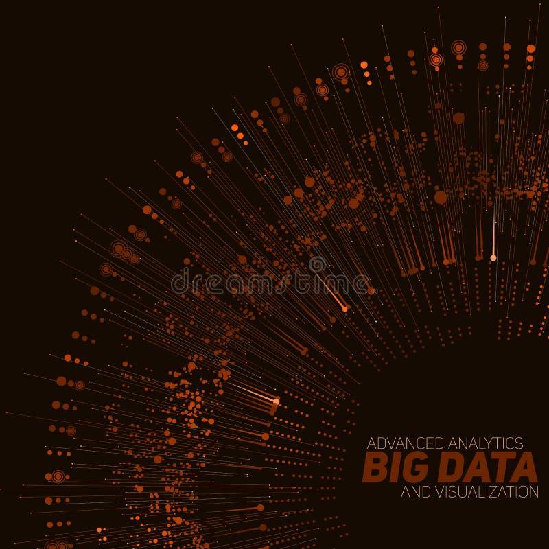 Grote gegevens cirkel oranje visualisatie Futuristische infographic Informatie esthetisch ontwerp Visuele gegevensingewikkeldheid royalty-vrije illustratie