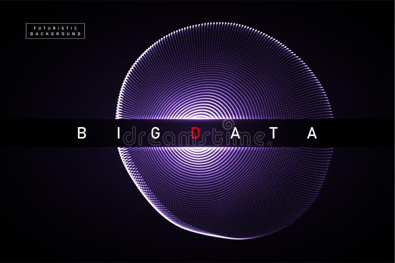 Grote Gegevens De abstracte vector digitale achtergrond van de gebiedexplosie 3D planeetnetwerk met gloeiende deeltjes Futuristis stock illustratie