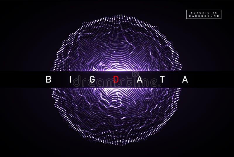 Grote Gegevens De abstracte vector digitale achtergrond van de gebiedexplosie 3D planeetnetwerk met gloeiende deeltjes Futuristis royalty-vrije illustratie