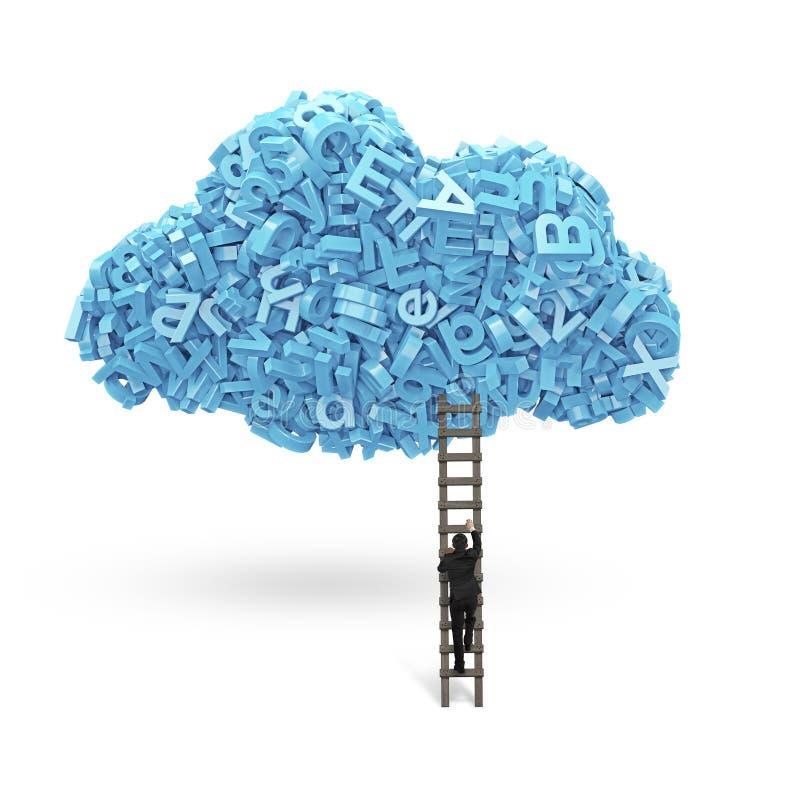 Grote Gegevens De blauwe karakters in wolk vormen met zakenman het beklimmen vector illustratie