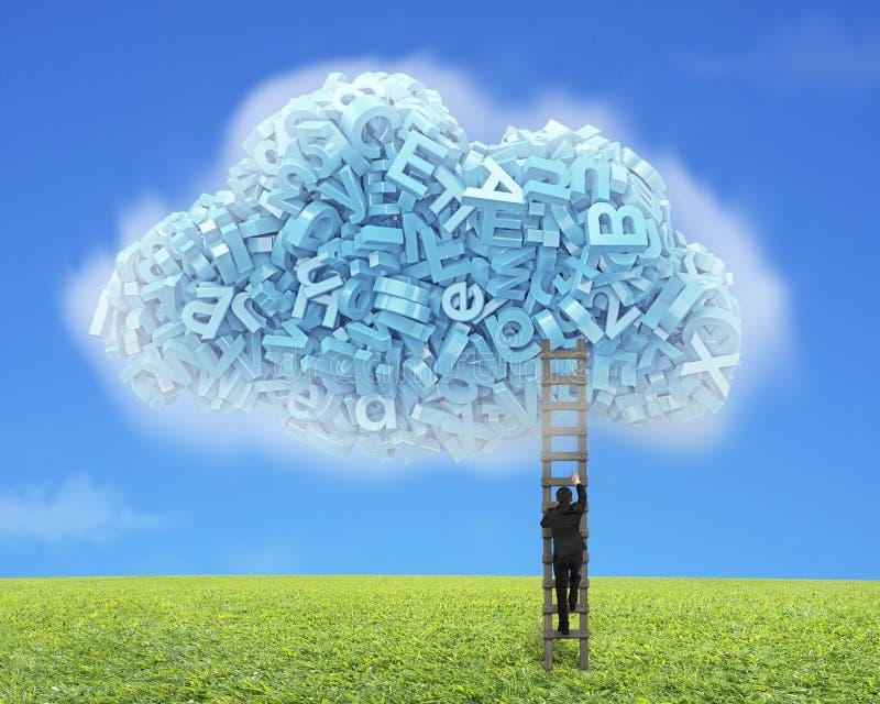 Grote Gegevens De blauwe karakters in wolk vormen met zakenman het beklimmen royalty-vrije illustratie
