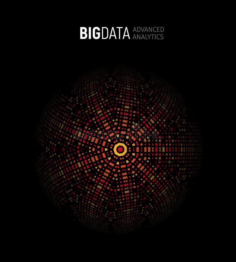 Grote gegevens geavanceerde analyse geometrische cirkel abstracte illustratie, analyticsachtergrond Informatietechnologie, ai vector illustratie