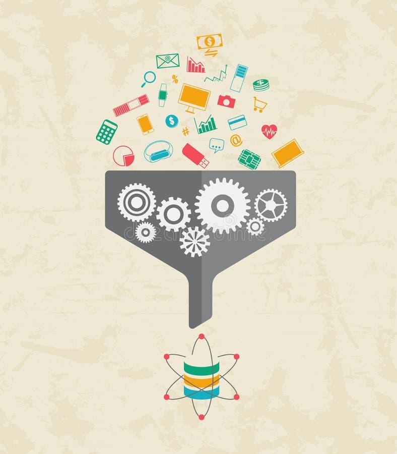 Grote Gegevens, Gegevens Wetenschap en communicatie concept royalty-vrije illustratie