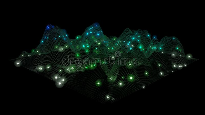 Grote Gegevens Gegevensnetwerk Wireframelandschap Geometrisch Terreinontwerp 3D Illustratie stock illustratie