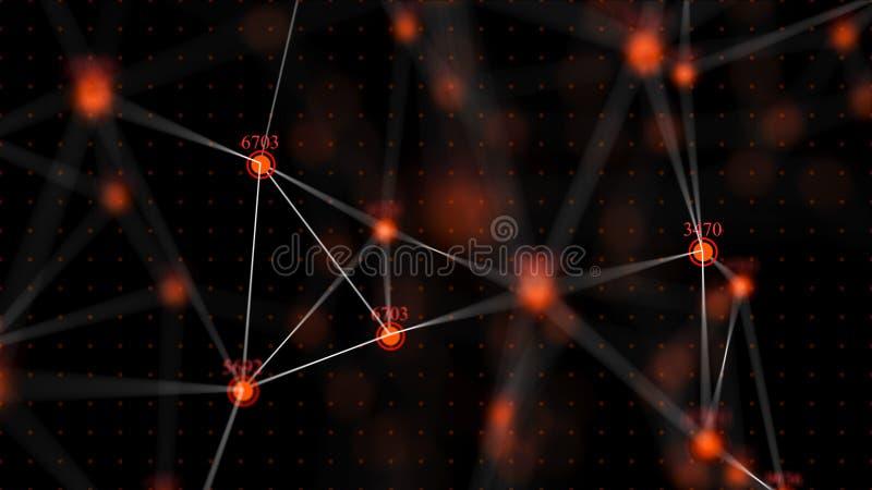 Grote gegevens op het internetnetwerk Gehackte codewaarden Informatiecellen 3D-rendering royalty-vrije illustratie