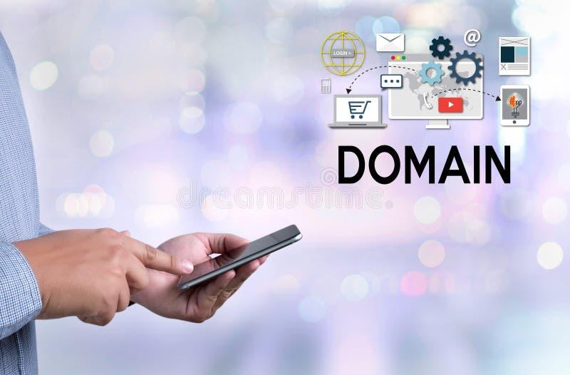 Grote Gegevens over DOMEINWeb-pagina en SEO, Internet en Web telecomm vector illustratie