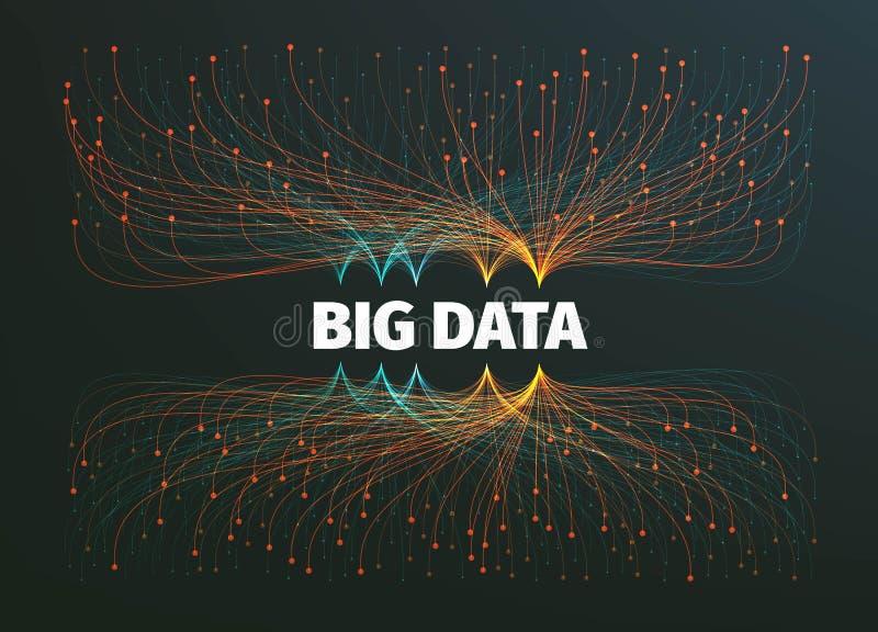 Grote gegevens vectorillustratie als achtergrond Informatiestromen Toekomstige Technologie royalty-vrije illustratie
