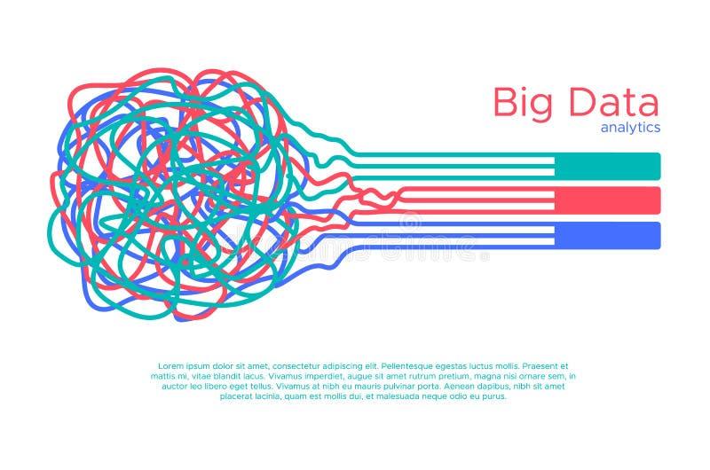 Grote gegevens vectorillustratie Machine die algorythm voor informatiefilter leren en anaytic in vlakke krabbelstijl stock illustratie