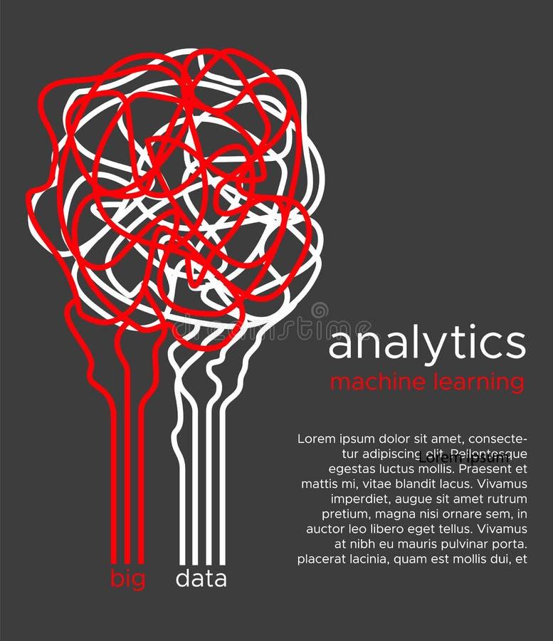 Grote gegevens vectorillustratie Machine het leren algoritme voor informatiefilter en anaytic in vlakke krabbelstijl royalty-vrije illustratie
