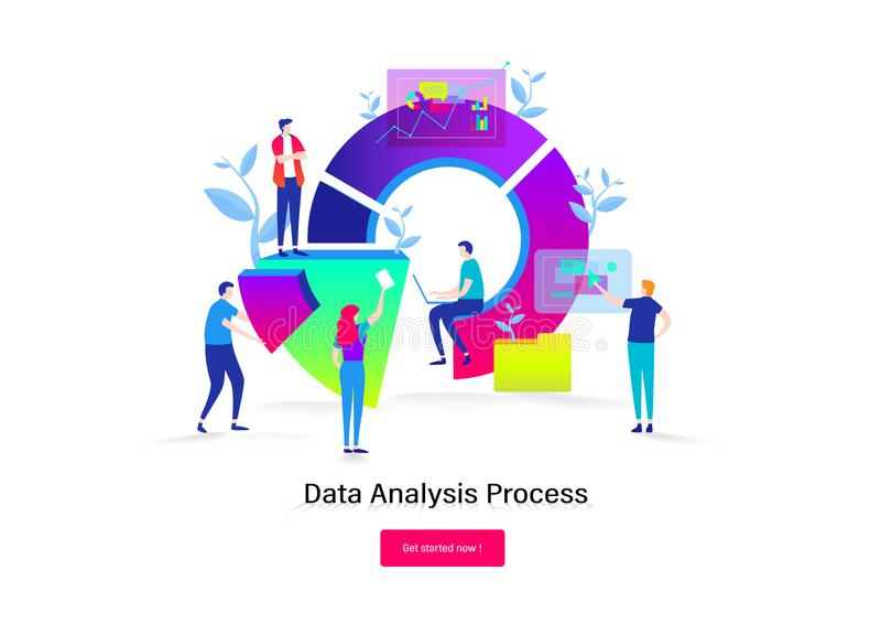 Grote gegevensanalyse Groepswerk, ontwikkelaar, programmeur Bedrijfs mensen De vlakke grafische vector van de beeldverhaal miniat vector illustratie